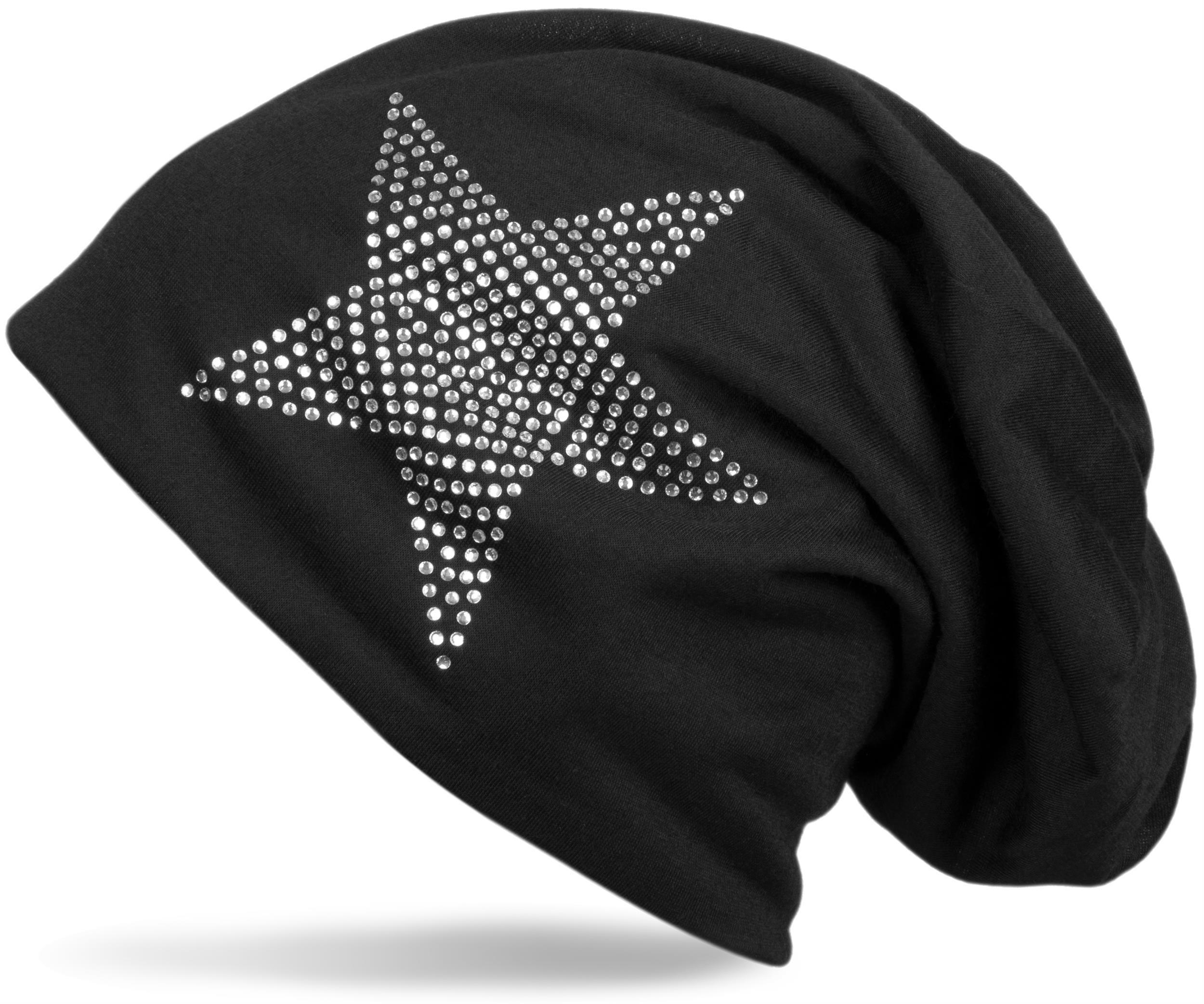 klassische Beanie Mütze mit Stern, Strass Strasssteine ...