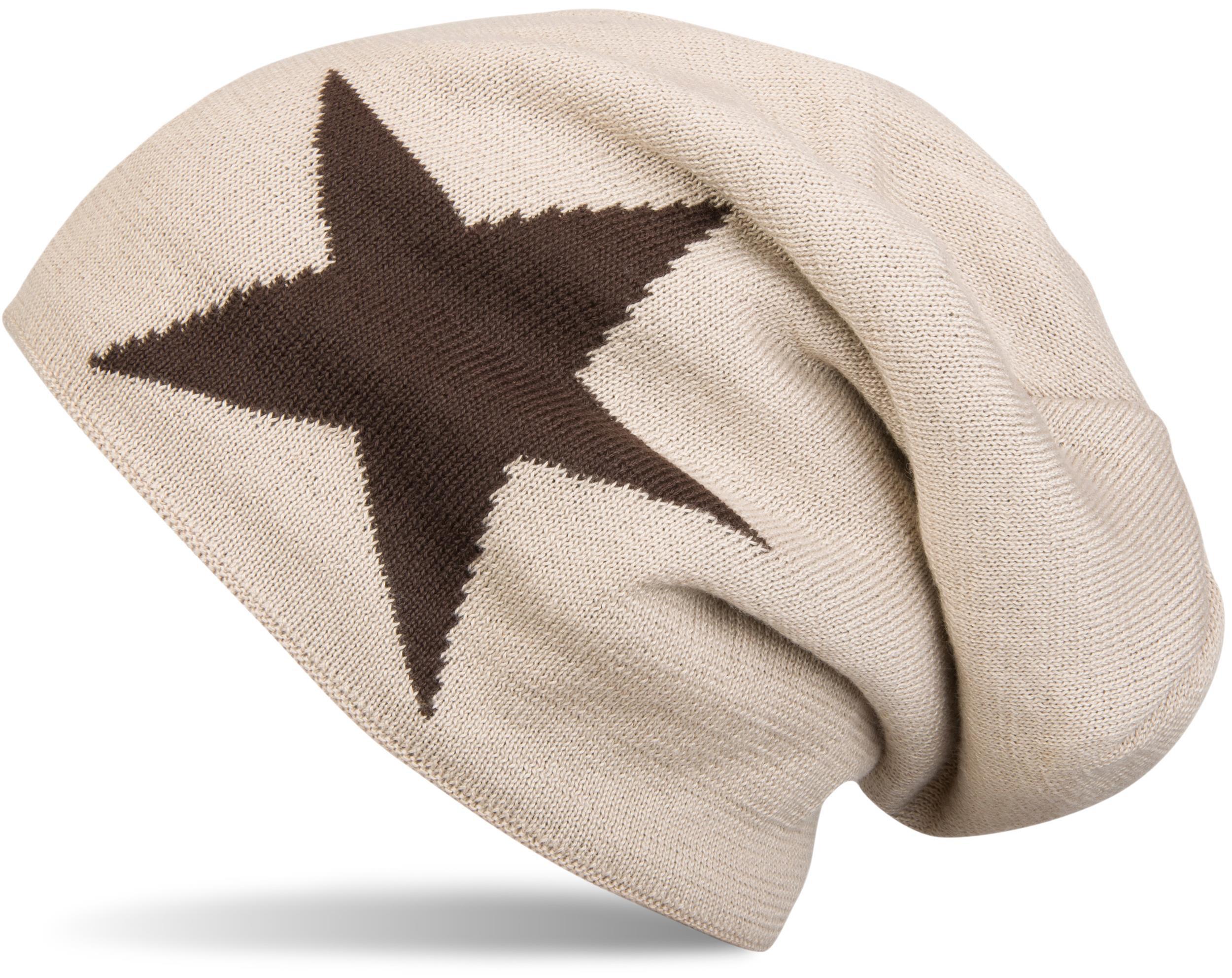Warme klassische Unisex Strick Beanie Mütze mit Stern ...