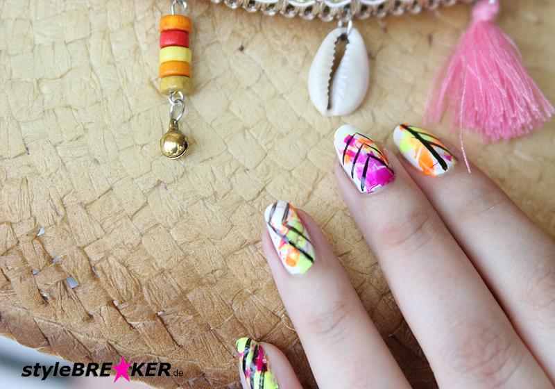Neon Splatter Nails Tutorial Nailart Nageldesign 1c