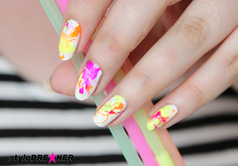 Neon Splatter Nails Tutorial Nailart Nageldesign 1j