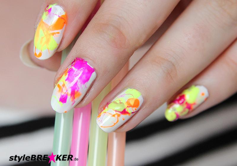 Neon Splatter Nails Tutorial Nailart Nageldesign 1k